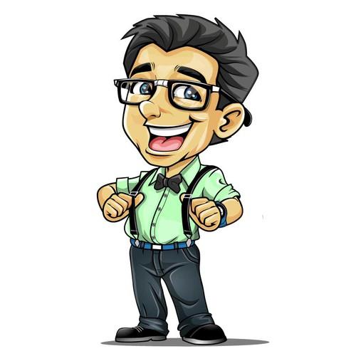 Geek cartoon caricature