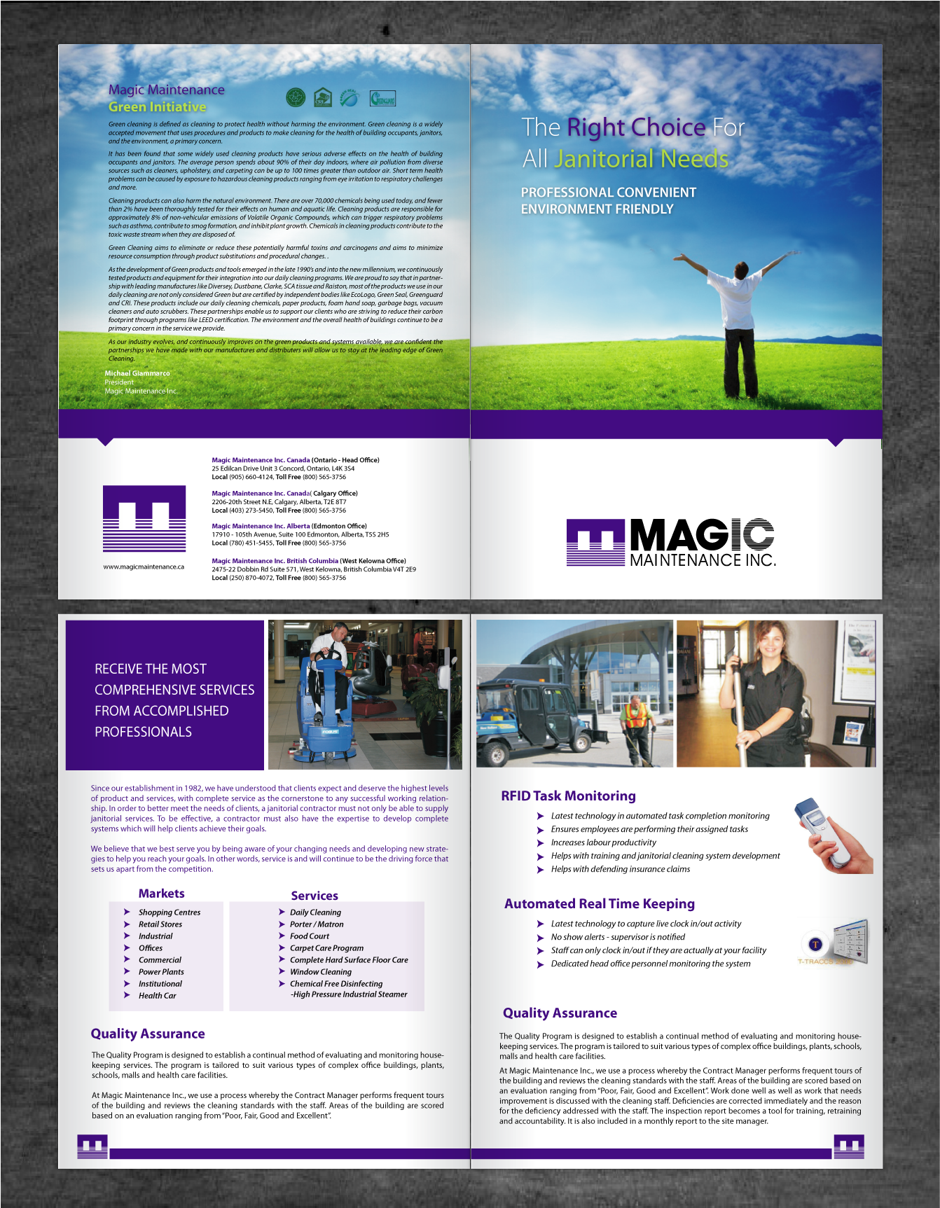 Create the next brochure design for Magic Maintenance Inc.