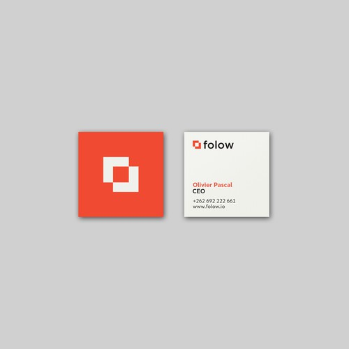 flat logo design and business card for Folow
