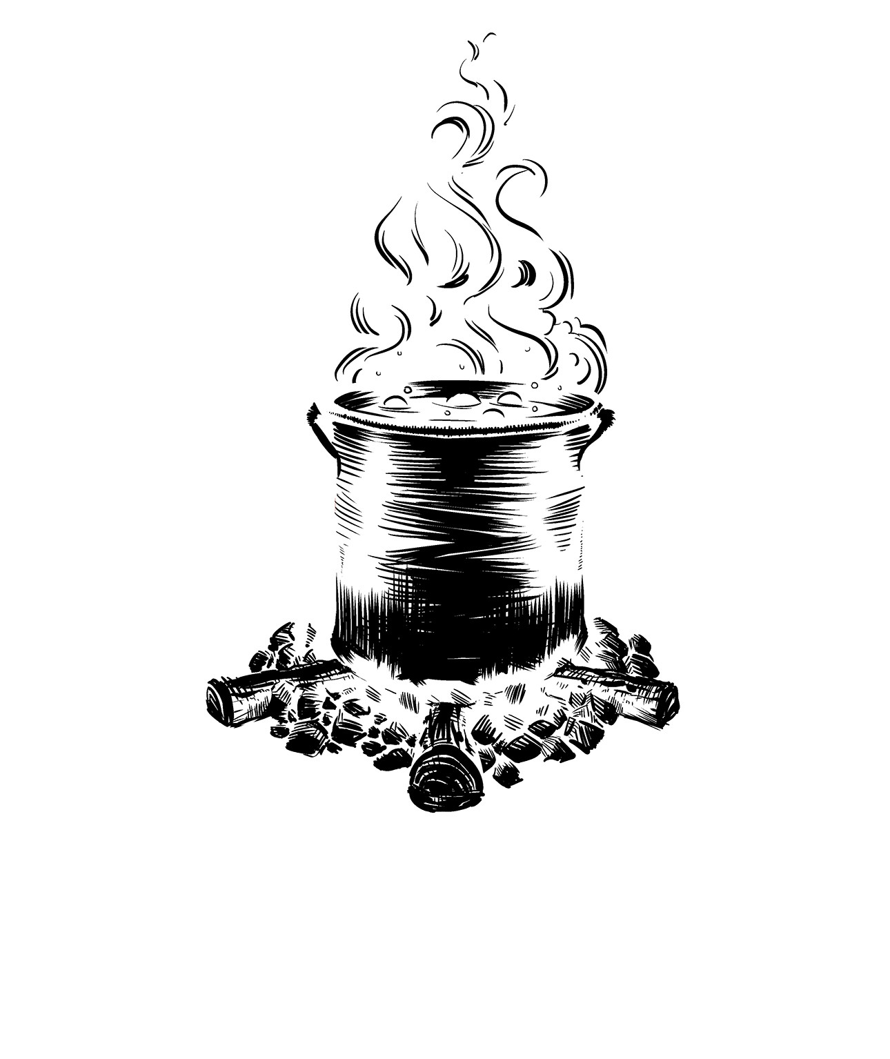 Create a Black and White Illustration for a Salsa Label