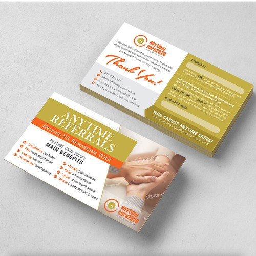 Referral Card Design for Anytime Care2020