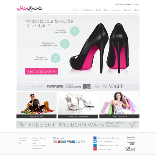 ShoeLando  needs a new website design
