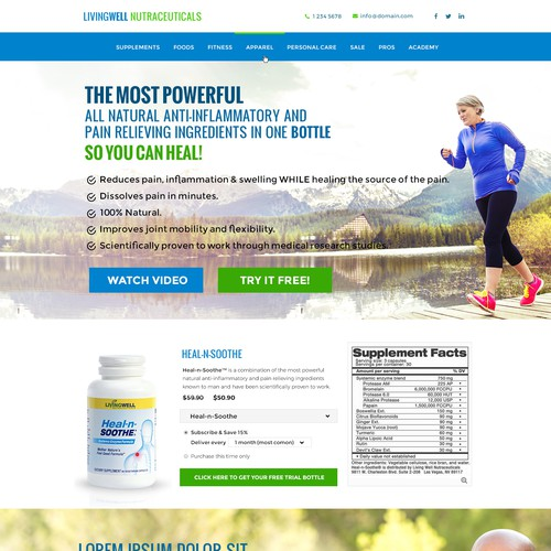 Landing page design for health product