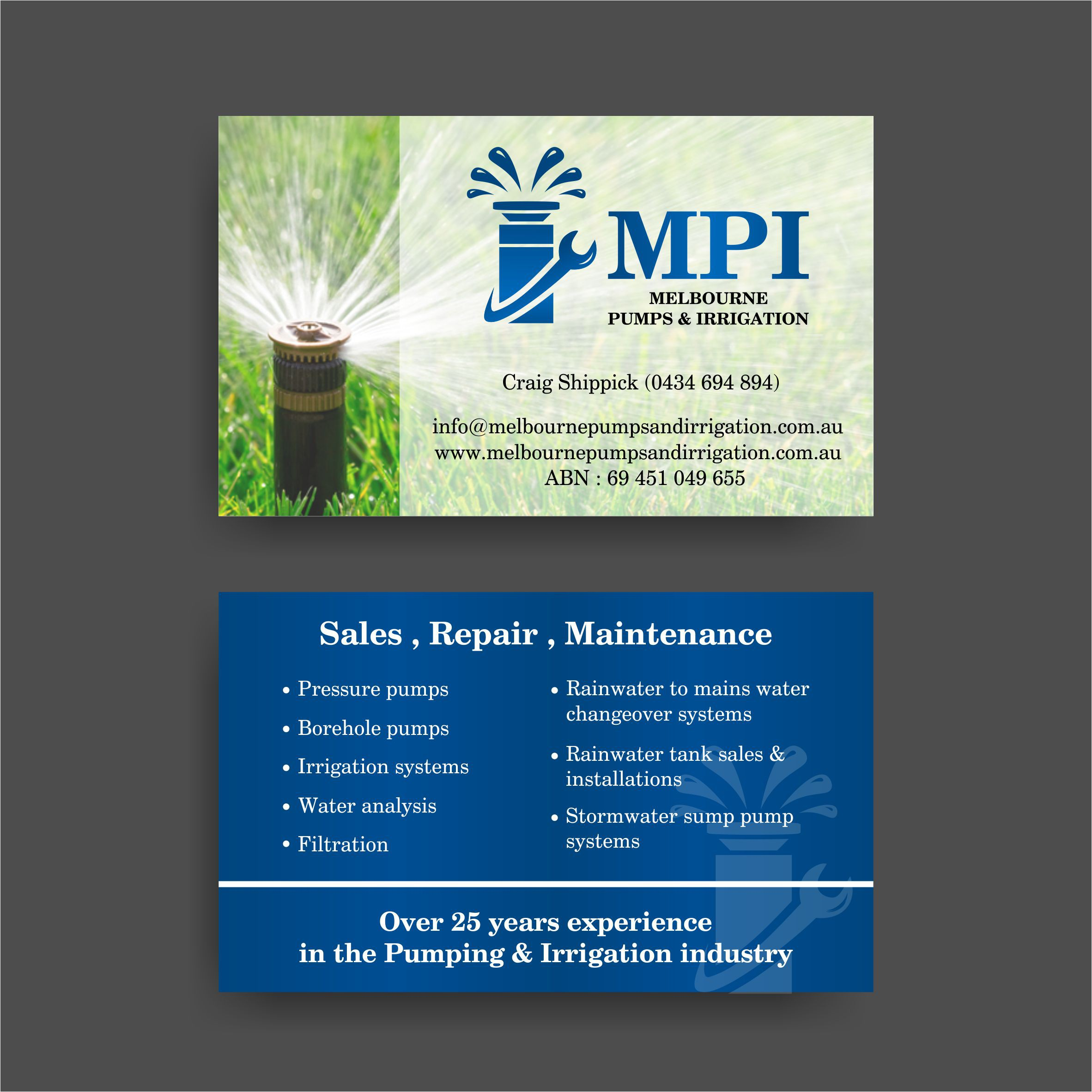 Business Card for Melbourne Pumps & Irrigation