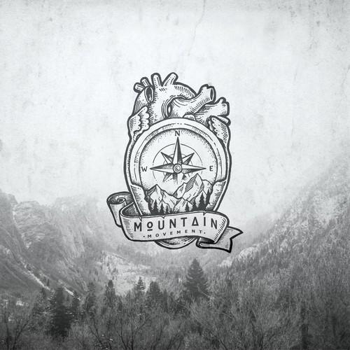 Drawing Badge logo for adventure community