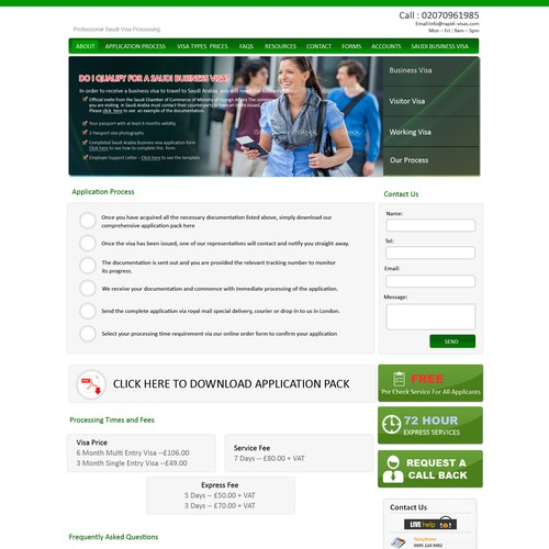 Clean and basic website design for visas
