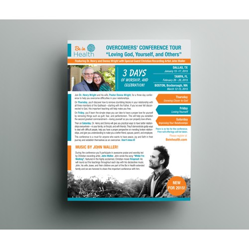 Create a slick conference flyer with international christian recording artist and Be in Health