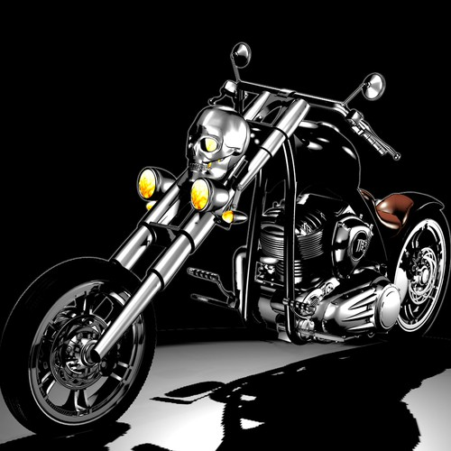 Custom motorcycle rendered from customizable 3D model file