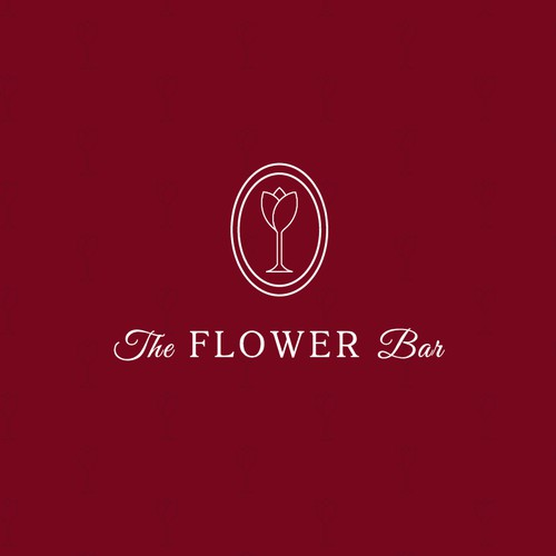 Logo for a wine bar in a flower shop