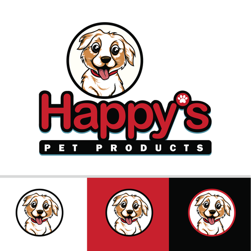 Cartoon logo for happy's pet products