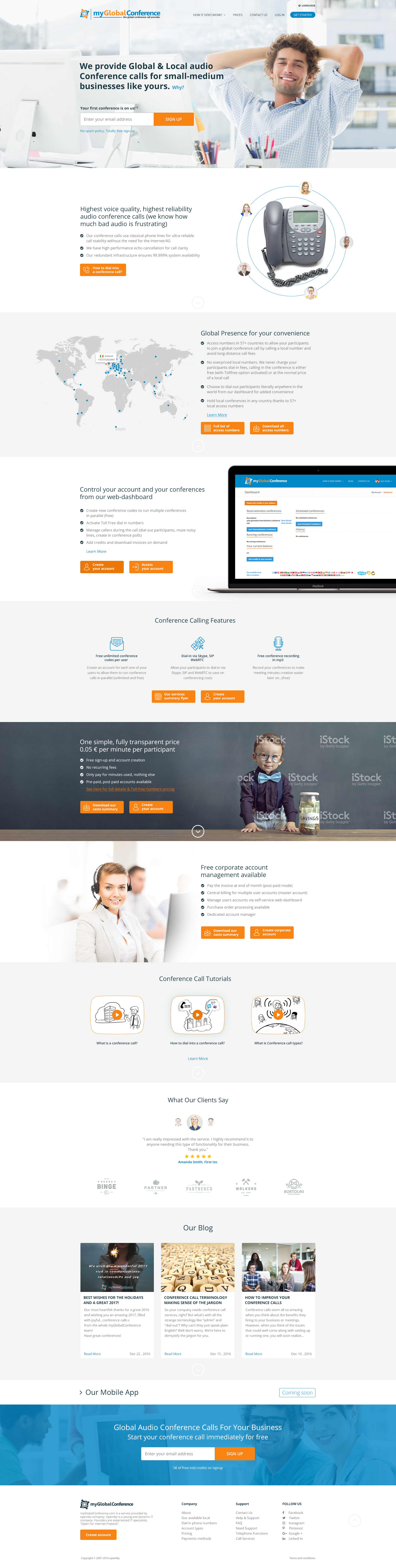 Awe-inducing webpage for conference call service provider