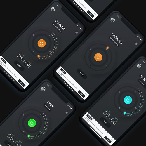Bold Time Interval App Design For Physical Fitness