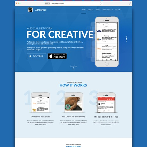 Creative landing page for an app