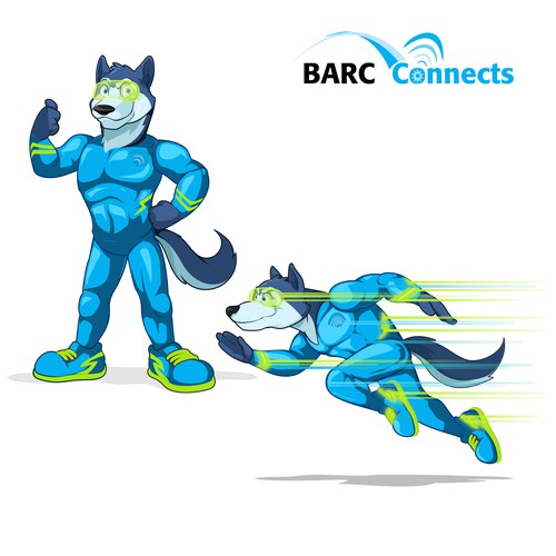 Speedster Husky superhero mascot design for Barc Connects