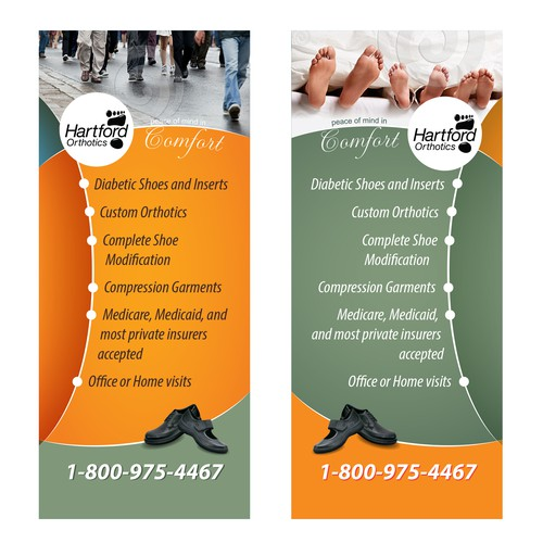 Hartford Orthotics needs two popup vertical tradeshow banners