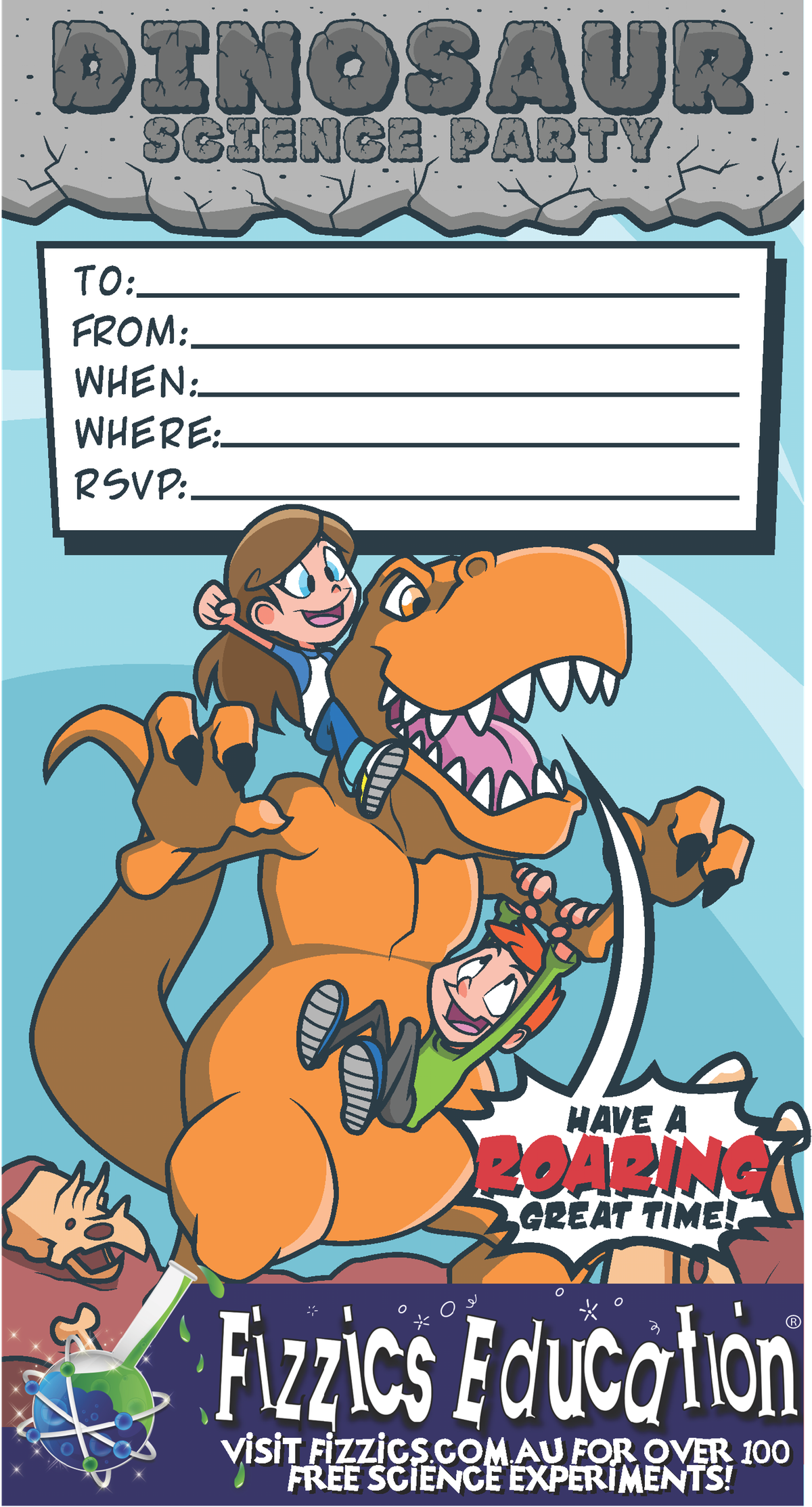 3 awesome DL invitations: Dinosaurs, space & forensics!