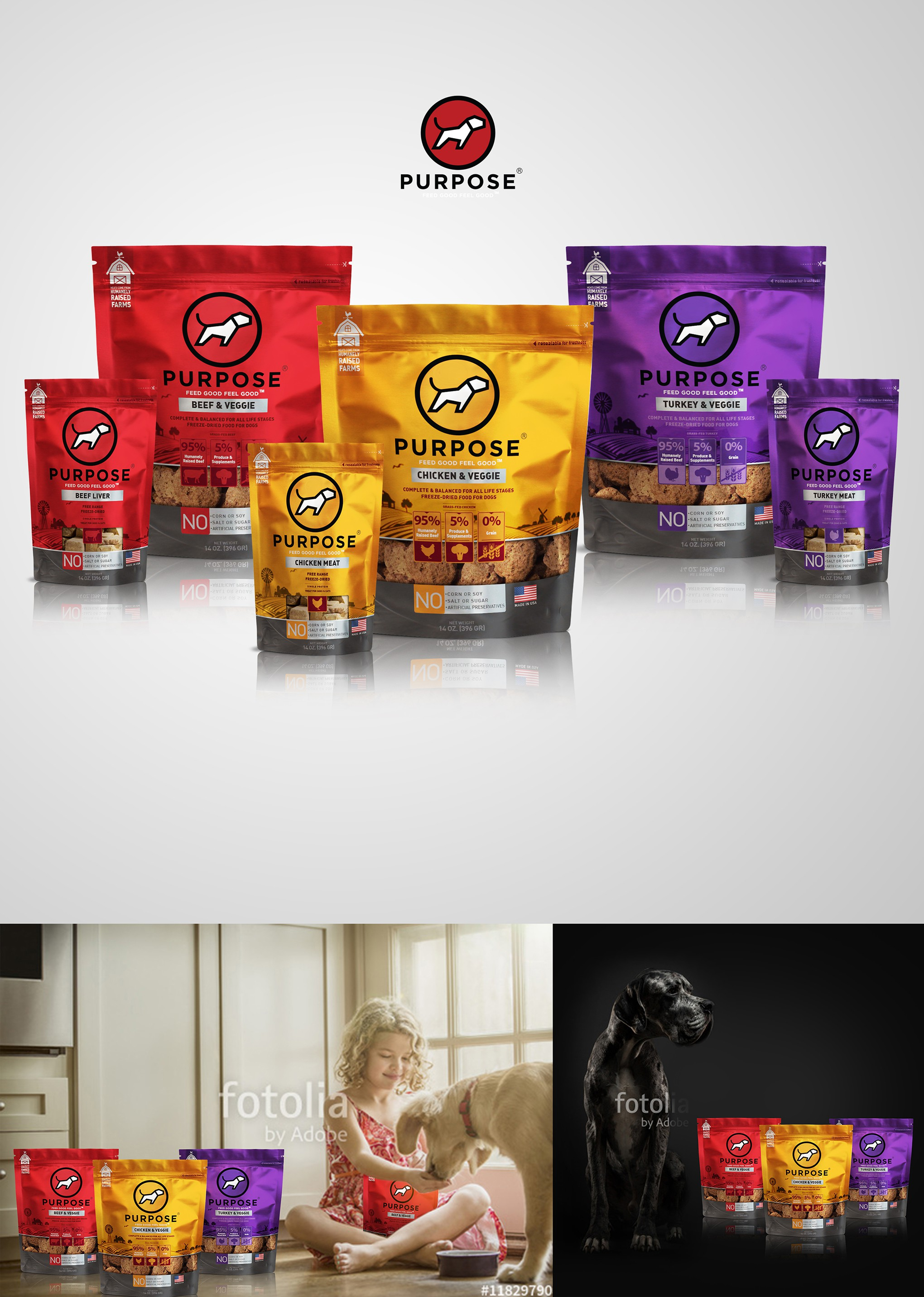 Create unique, eye-catching packaging for Purpose Pet Food