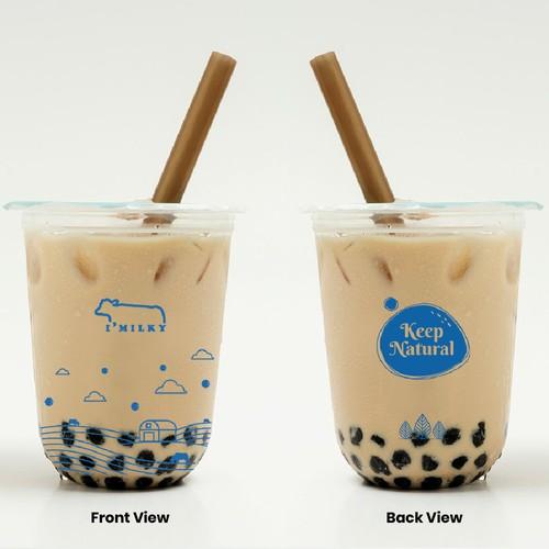 Label design for boba tea drink