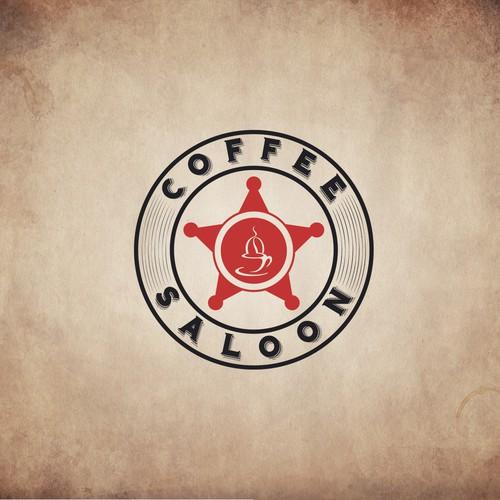 A circular logo based on a shotgun cartridge or branding iron to represent cool coffee brand