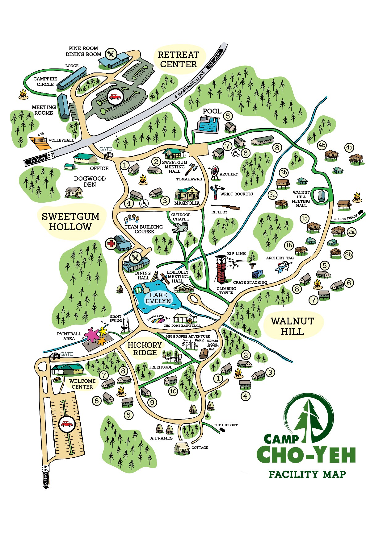 Create a detailed facility map for a large youth camp