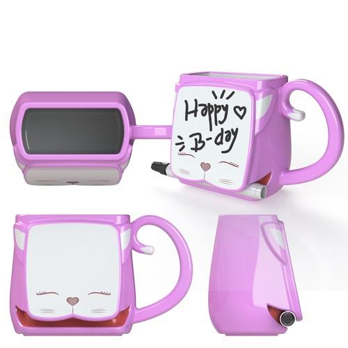 Whiteboard mug with pen holder