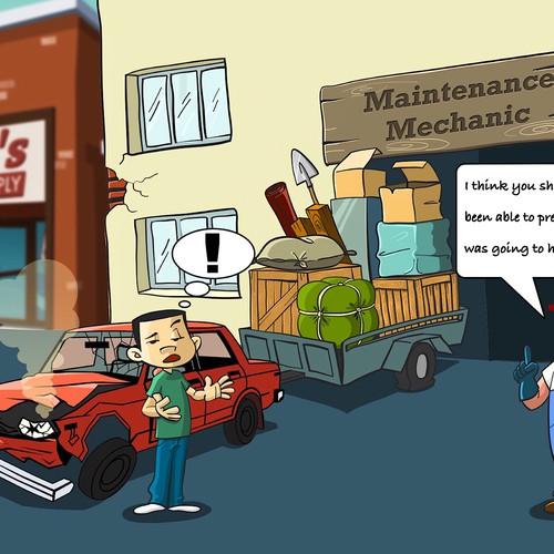 Car mechanic cartoon