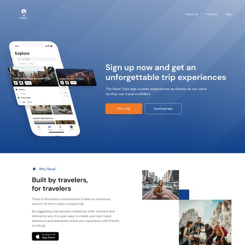 Engaging landing page for travel startup