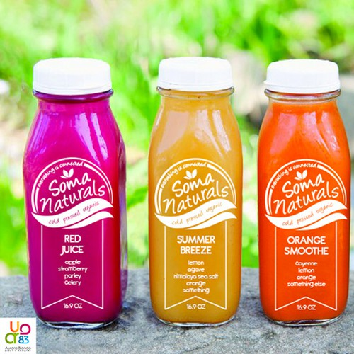 Design a bottle label for a new juice company, Soma Naturals