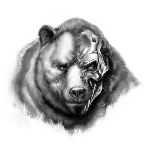 Cybernetic bear tattoo design