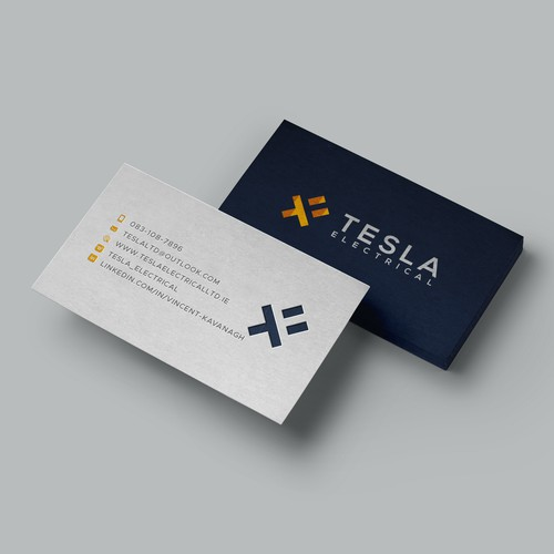 Letterpress Business Cards design for Tesla Electrical