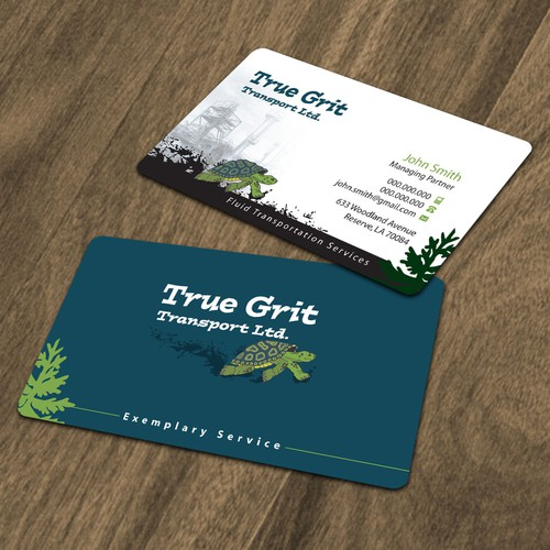 Business card for True Grit Transport Ltd.