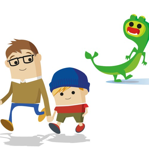 Create three characters for a children's book: Dad, kid & lake monster (think Ugly Doll, Olivia Pig)