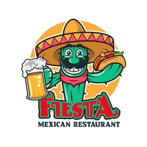 An authentic Mexican logo. Fiesta meaning festive style