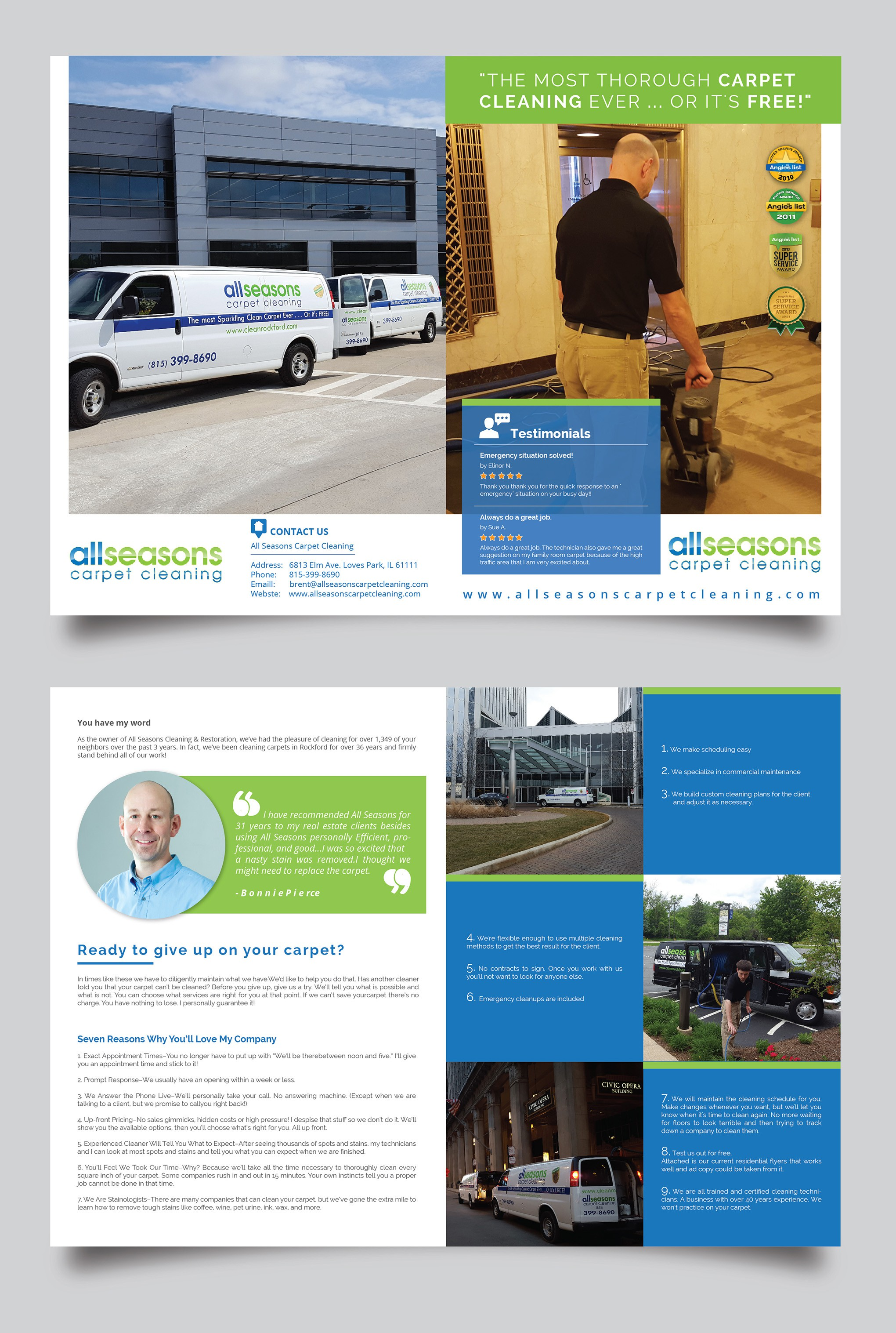 Prominent carpet cleaning company needs brochure for commercial prospects.
