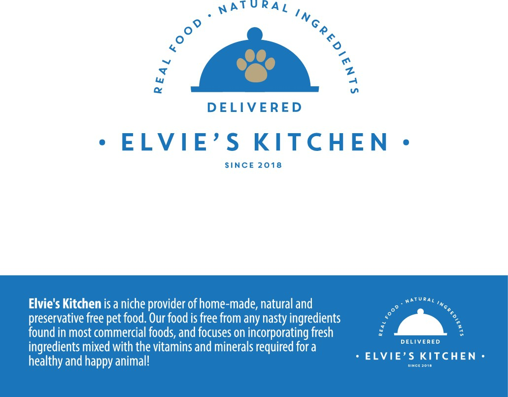 Design an engaging logo for Elvie's Kitchen whilst looking at pictures of my awesome dog!