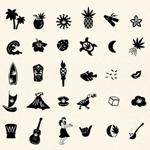 Playful icons for brand pattern