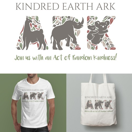 Promotional t-shirt design for Kindred Eart Ark