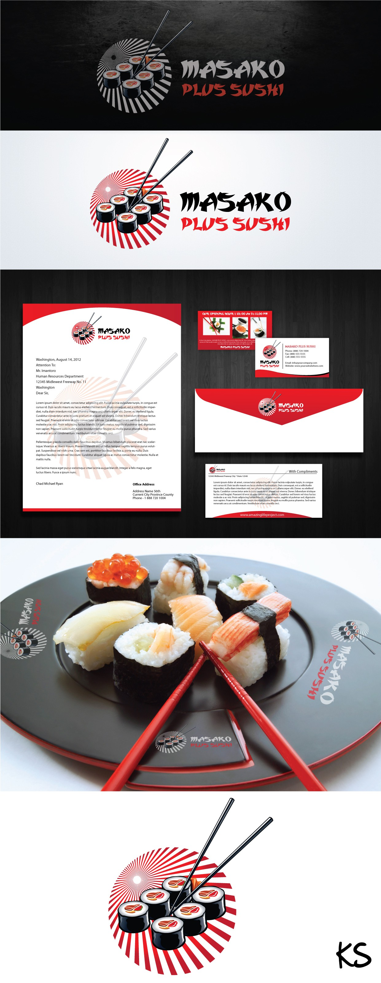 MASAKO PLUS SUSHI needs a new logo and business card