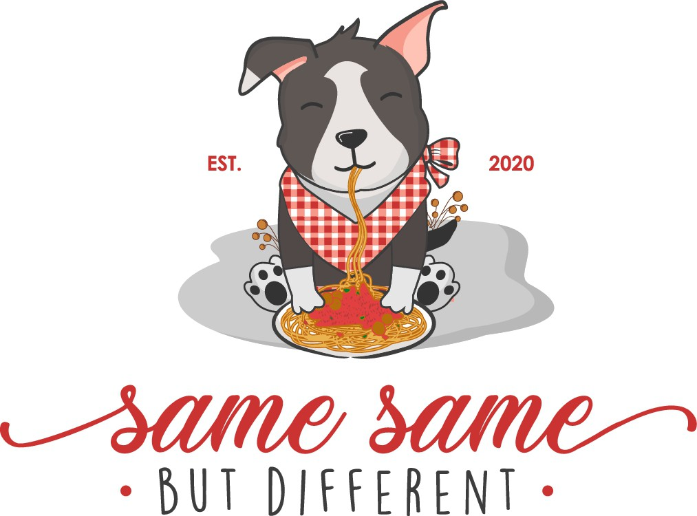 Feminine Logo with cartoon puppies & spaghetti