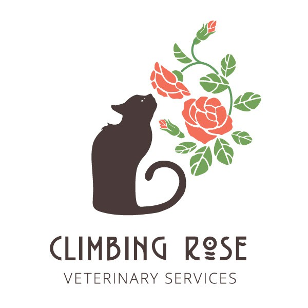 Create an old-fashioned floral (climbing rose) logo for a hospice veterinarian
