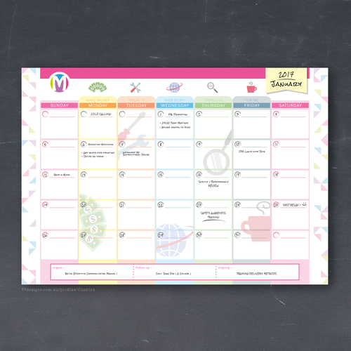 Customisable Monthly Calendar Design for Momentum T.S.