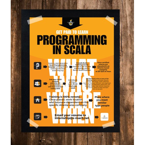 Create a flyer for Scala-coding interns