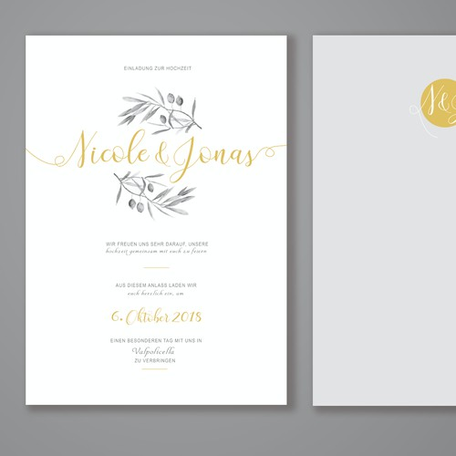 Tuscan inspired wedding invitation