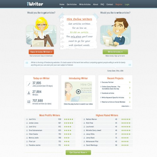 iWriter.com : We need a new and fresh website design for iWriter. Big opportunity for high profile website!