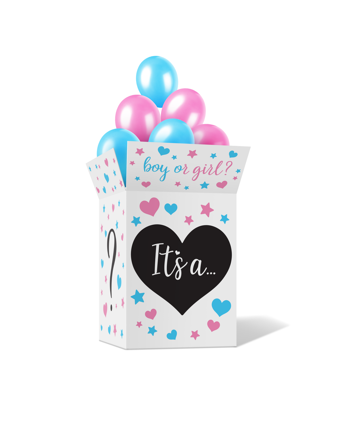 Gender Reveal Cardboard Box and small Stickers