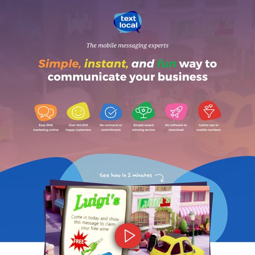 Landing Page for Text Messaging Service