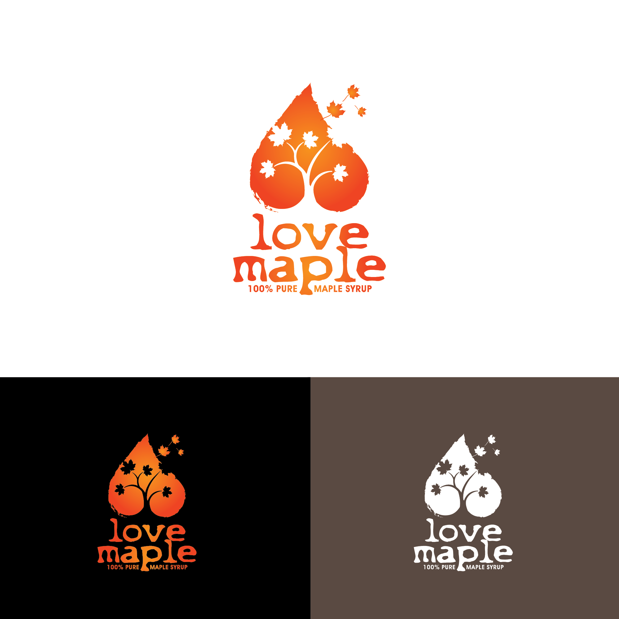 creating a logo for a new maple syrup company called Love Maple