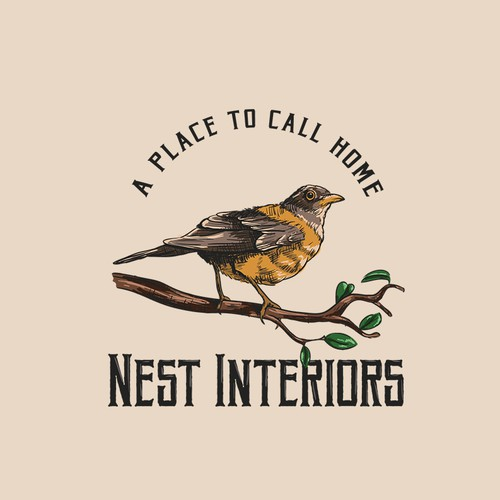 Vintage/Natural/Organic - Bird logo for Nest Interiors