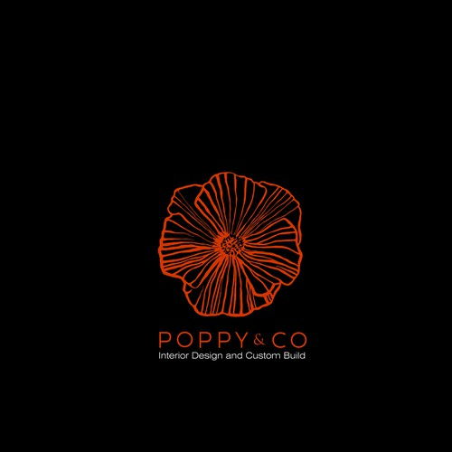 Poppy flower logo for interior designer