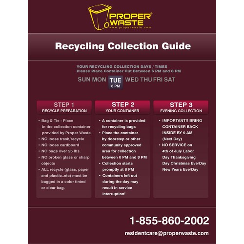 Design 2 stunning waste and recycling guides for Proper Waste!